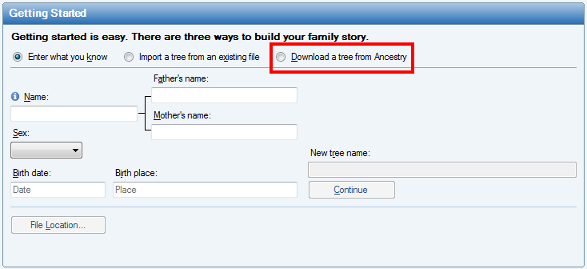 create  download  or import a new tree with family tree